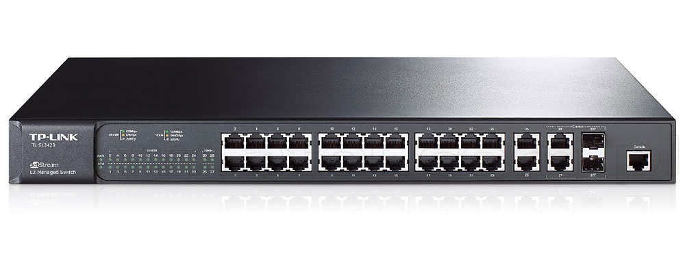 The Next 100 Years >> TP-Link TL-SL3428, Managed switch, 24x 10/100 RJ-45, 4x 10/1000 RJ-45, 2 slide-in SFP slots ...