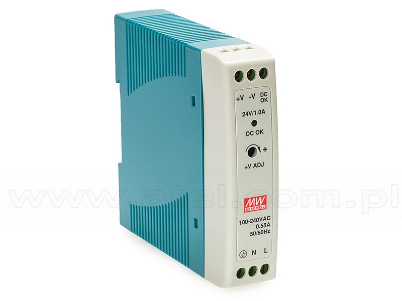 Power supply 24W 24VDC, mini, DIN TS35 (Mean Well MDR-20-24)