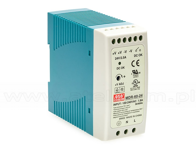 Power supply 60W 24VDC, mini, DIN TS35 (Mean Well MDR-60-24)