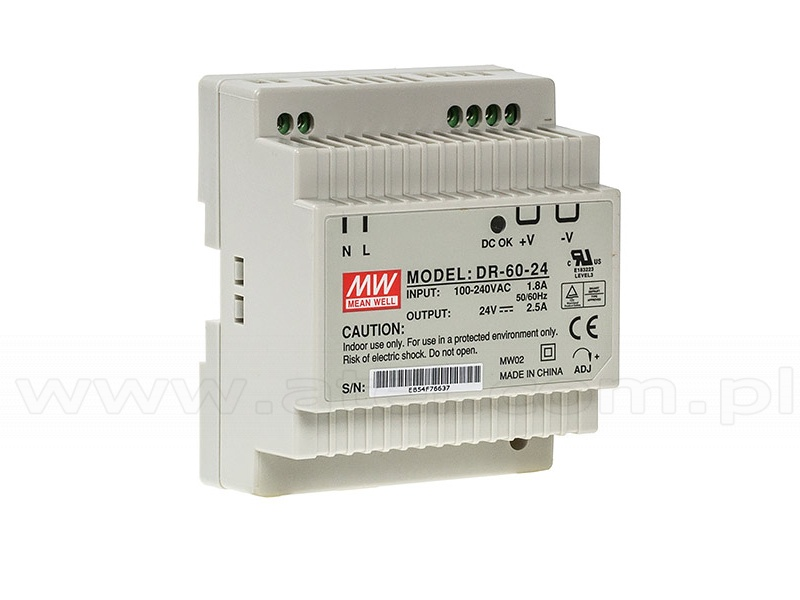 Power supply 60W 24VDC, DIN TS35 (Mean Well DR-60-24)