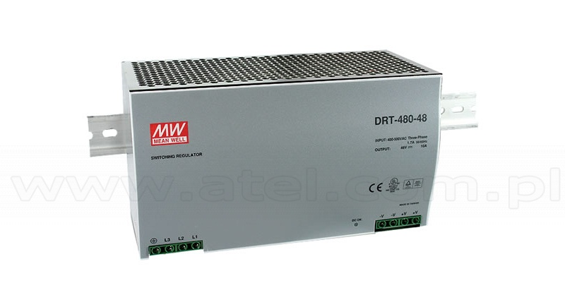 Power supply 480W 24VDC, three phase, DIN TS35 (Mean Well DRT-480-24)