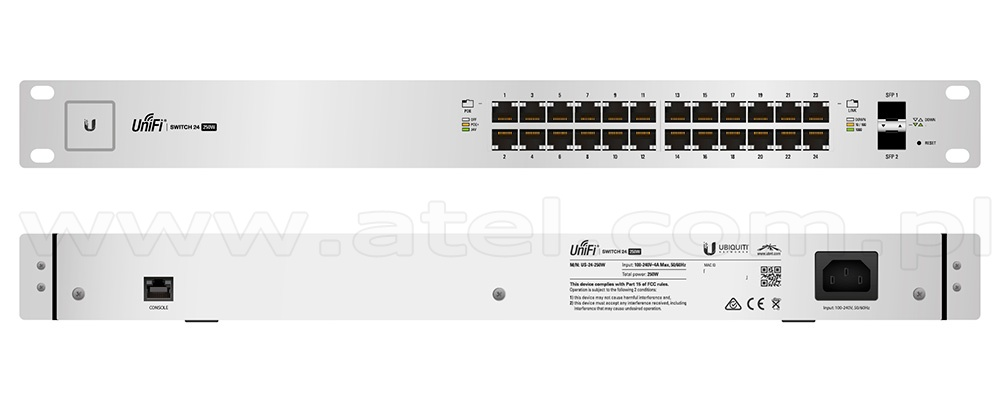 Black UBIQUITI ES-24-250W Edge Switch Ports L3 Managed