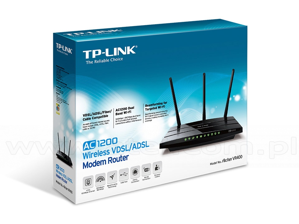 1200Mbps Wireless Gigabit Router Dualband 1200AC, ADSL2+ (TP-Link Archer  VR400)