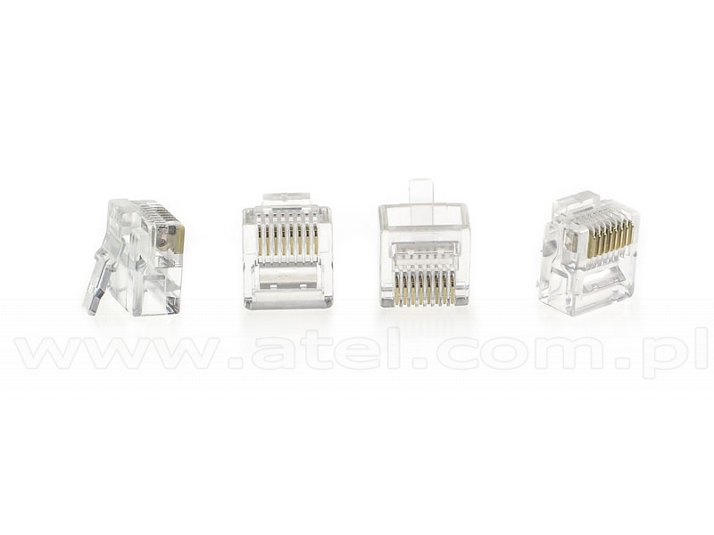 Modular male connector, 8P8C (RJ-45), round, stranded, cat