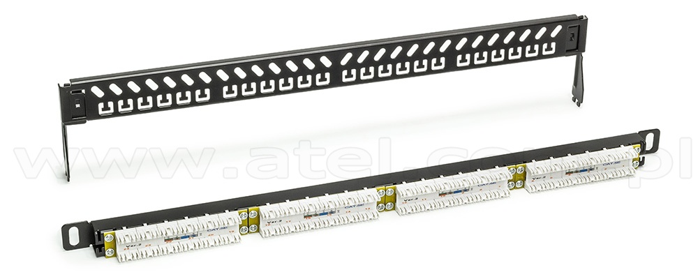 Patch panel, 24-port, UTP, cat. 5e, 0.5U, 19