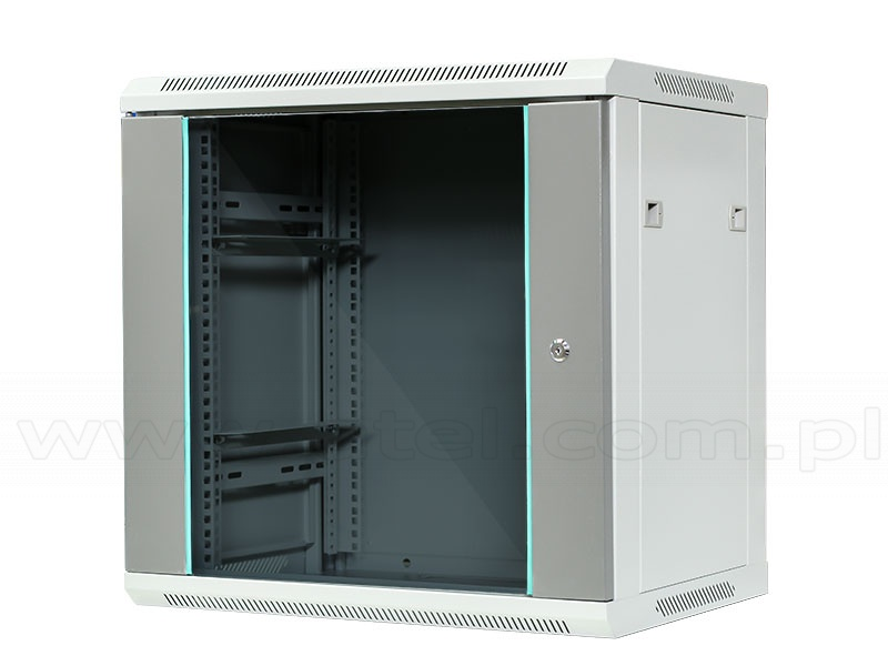 Rack 12u cabinet 19 wall mounted glass door 600 x 600 for 12u floor standing cabinet